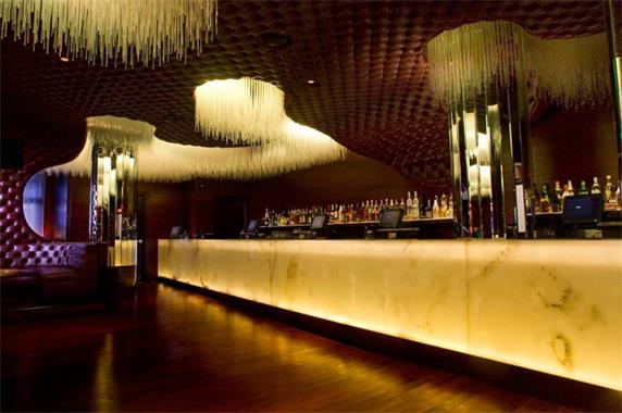 Lighted bar counter made by translucent stone