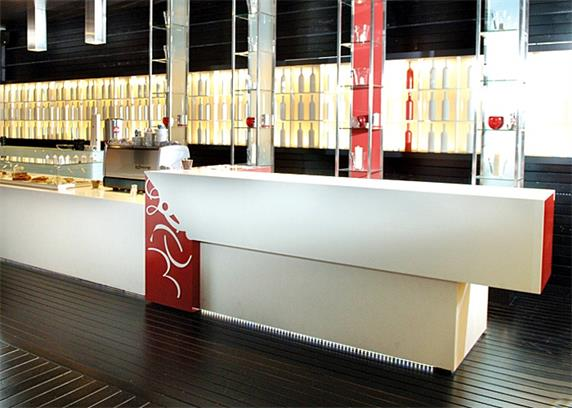 Straight bar counter white color for restaurant