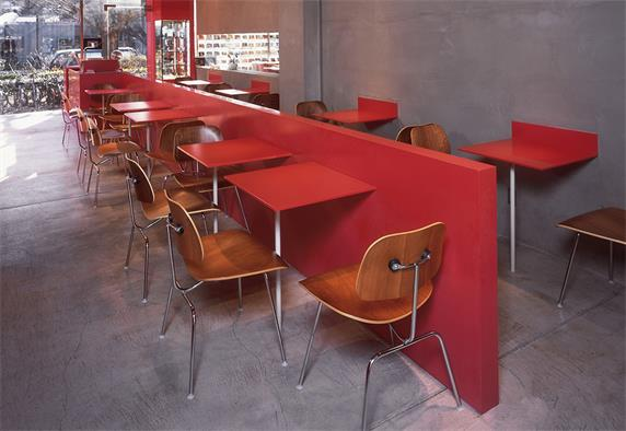 Red artificial stone table coffee shop counter
