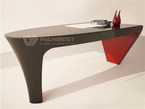 Oval black office desk with contrast color for manager