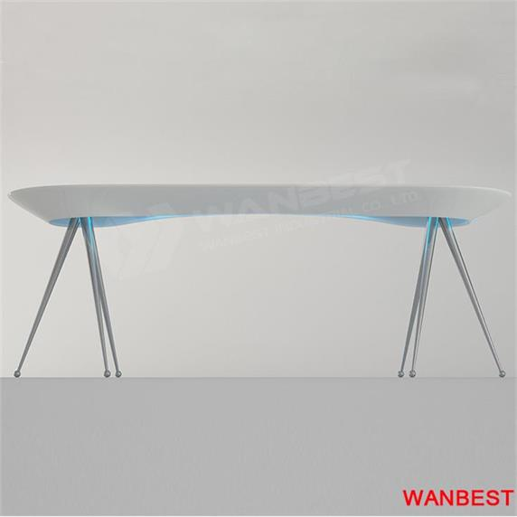 White office desk corian material steel leg custom design