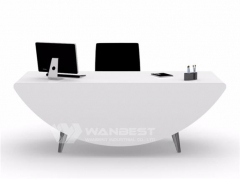 Oval white office desk with drawer modern design