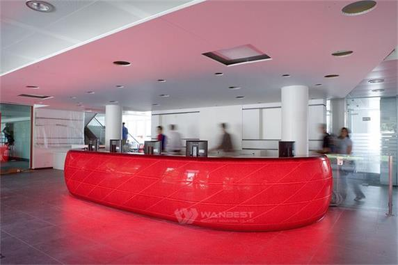 Red Led Lighting Circle Company Reception Front Desk