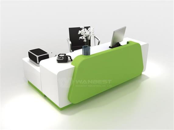 Executive Office Furniture Reception Desk Green And White