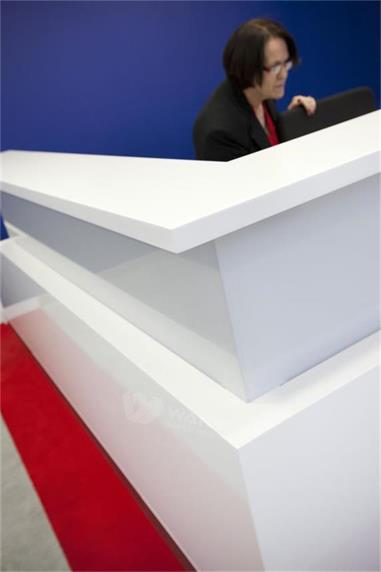 L Shape 2 People Company Front Information Counter Design