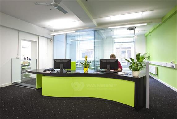 Tailored Design Office Reception Desk Green Counter for sale