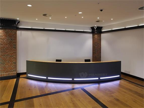 Led Black Solid Surface Stone Reception Counter Design