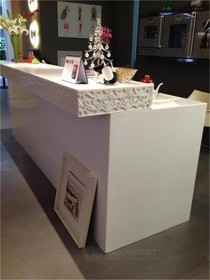 White carved reception desk beauty salon