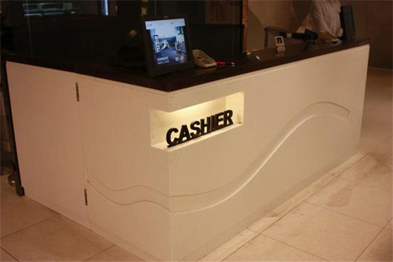 Black artificial stone cashier reception counter