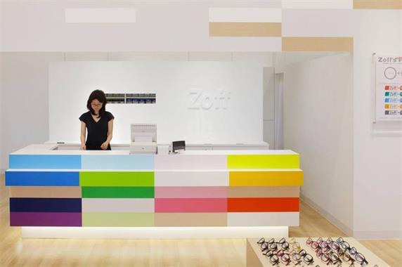 Colorful store cashier reception counter