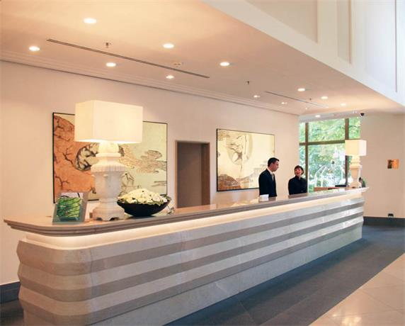 Hotel long grey reception desk popular design