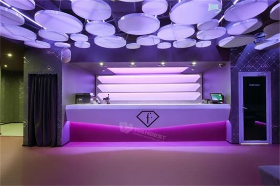 Purple Lighting Luxury Club Reception Counter Table Design