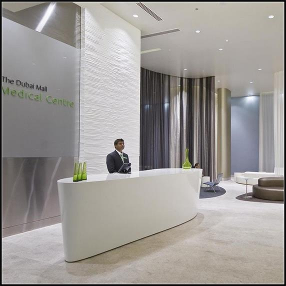 Lobby small standing reception desk