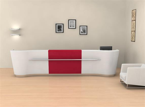 White red artificial stone reception counter