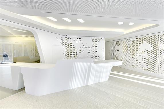 Luxury white reception desk counter