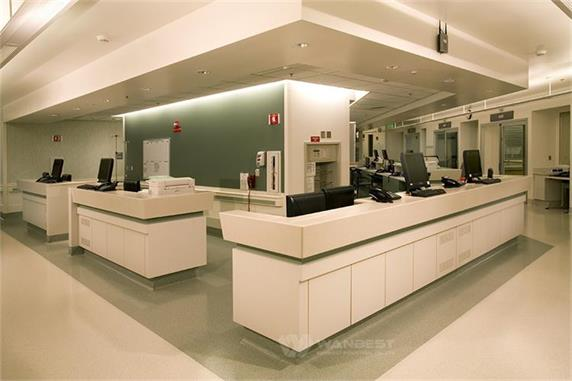 White hospital nurse work station reception counter