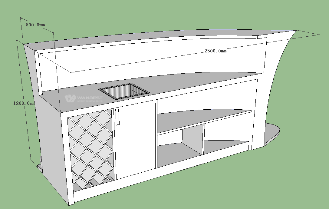 The bar counter 3D drawing- Behind