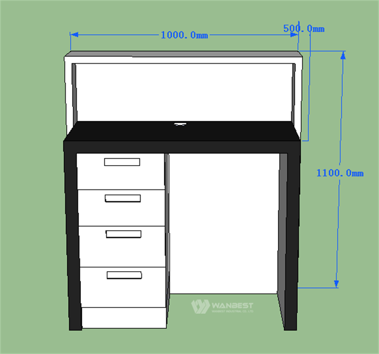 Reception counter 3D drawing- behind