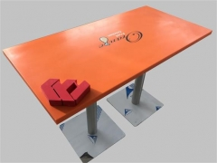 Orange color corian solid surface dining table custom logo