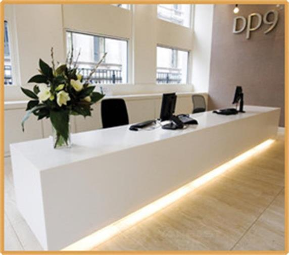White Office Furniture Marble Straight Reception Desk