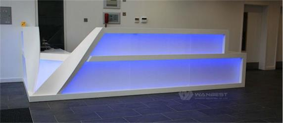 Led Lighting Reception L Shape Counter Custom Design