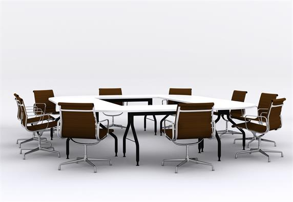 Many People Large Round Conference Room Tables Desk