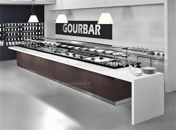 I shape Modern Artificial Stone Bar Counter with Glass cabinet