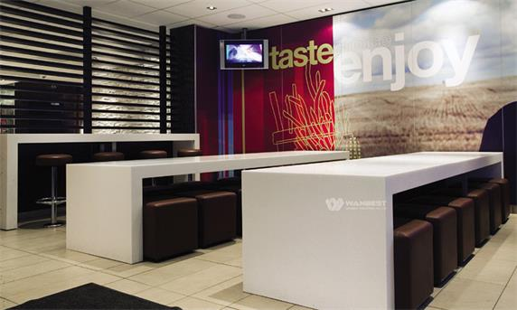 Fast Food Chain Restaurant Counter Solid Surface Material