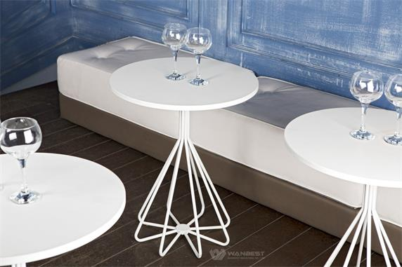 White Corian Hotel Round Coffee Table Top