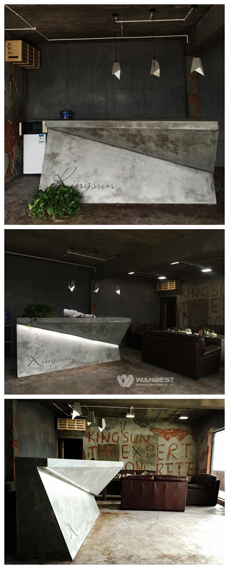 Artificial stone  Reception counter with LED