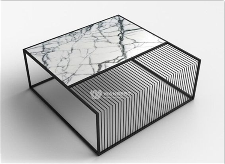 Coffee table corian and stainless steel