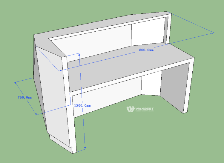 3D drawing- reception desk behind