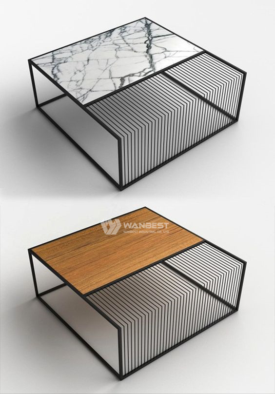 Artificail stone Stainless steel support coffee table