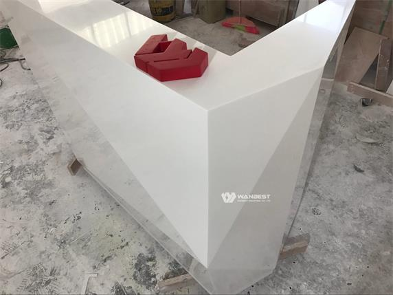 White elegant salon diamond 1 people reception counter