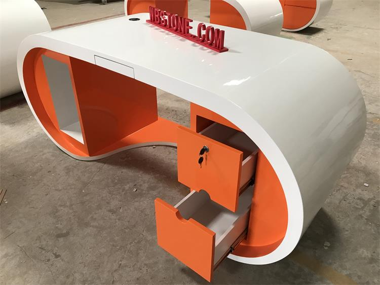 orange white manger custom design size desk