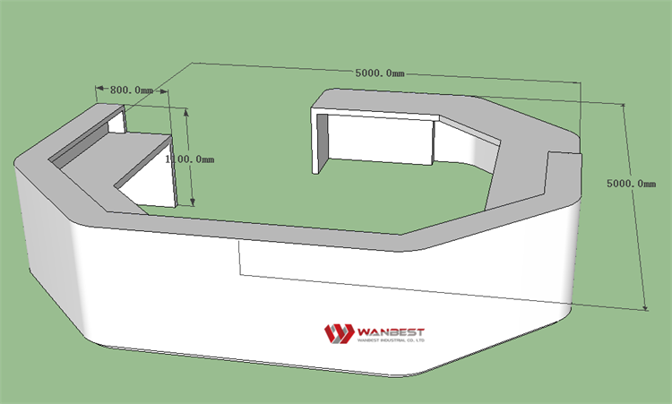 The reception desk 3D drawing