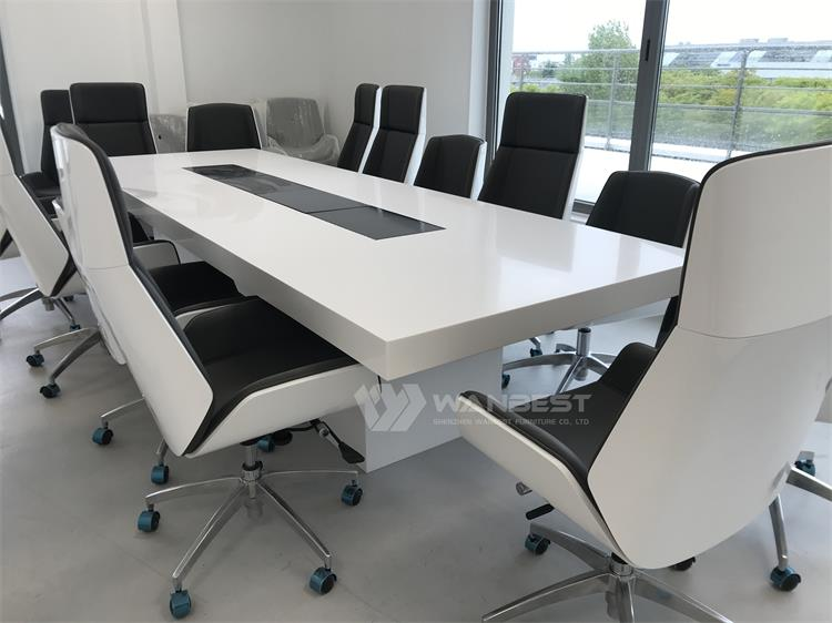 The side of corian conference table