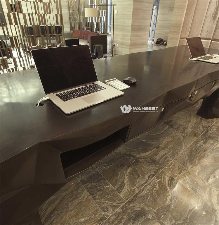 The details of black reception desk