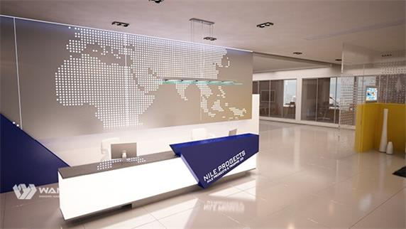 A modern and fashionable corian reception desk for company