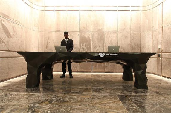 The lobby multipurpose large black and elegant reception desk
