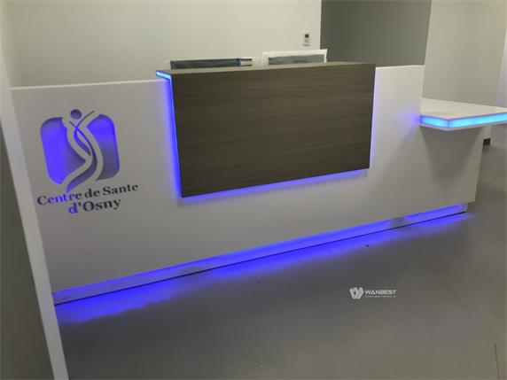 The manager's office  long reception desk with LOGO LED