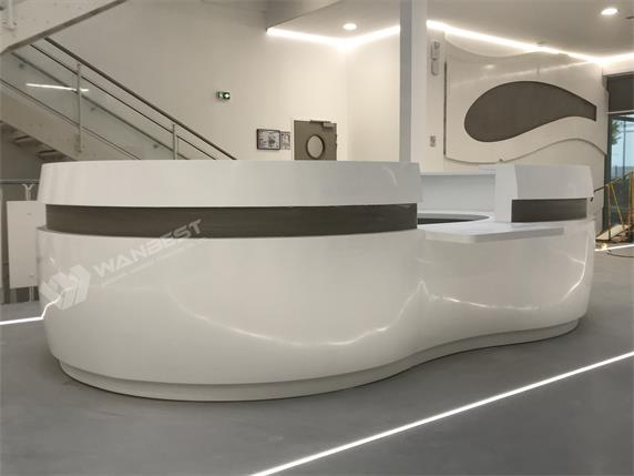 The oval artificial stone reception desk for France Project