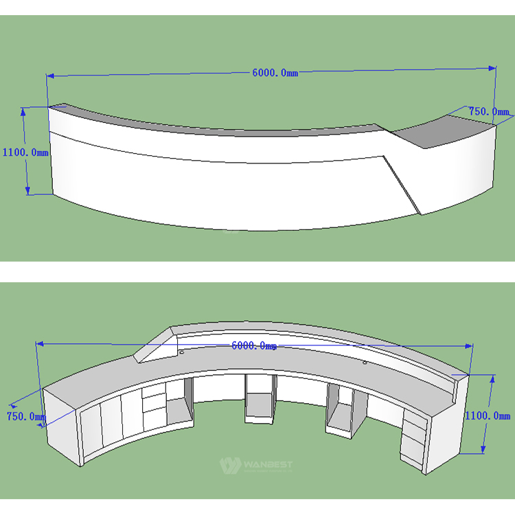 The 3D drawing of white reception desk
