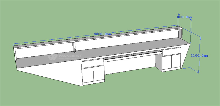 Reception desk 3D drawing- behind