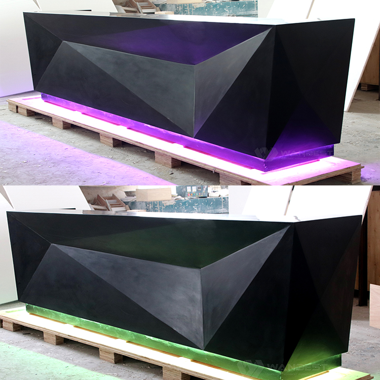 Bar counter with green LED lighting