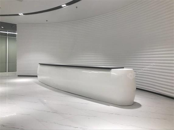 Elliptical straight corian white grey reception desk
