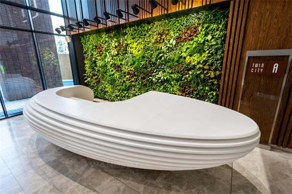 Circle luxury innovation corian white reception desk front furniture