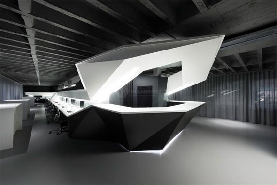Modern Round design  Black White Reception Desk with LED