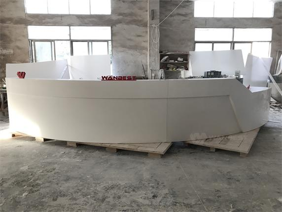 Norway reception desk white corian large half circle design