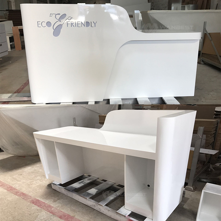 White reception desk-process